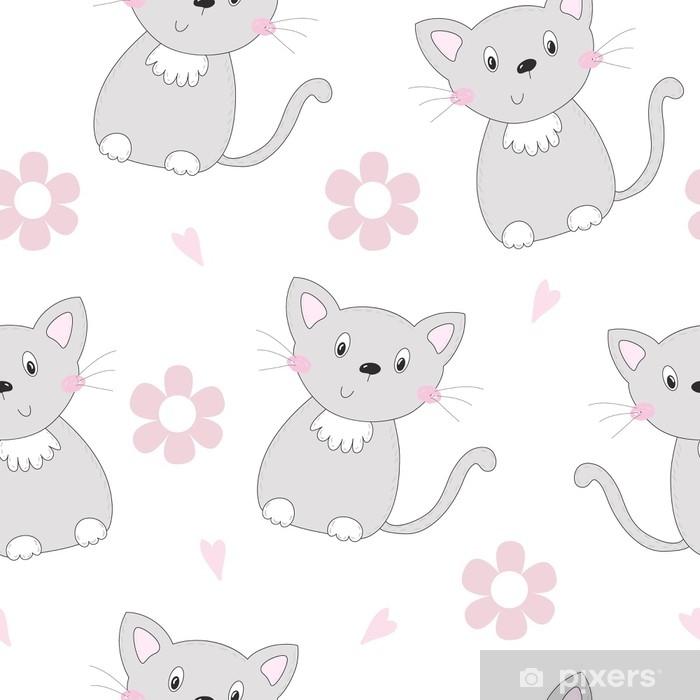 Vinilo para Mesa Lack Gatos lindos coloridos patrones sin fisuras de fondo - Animales