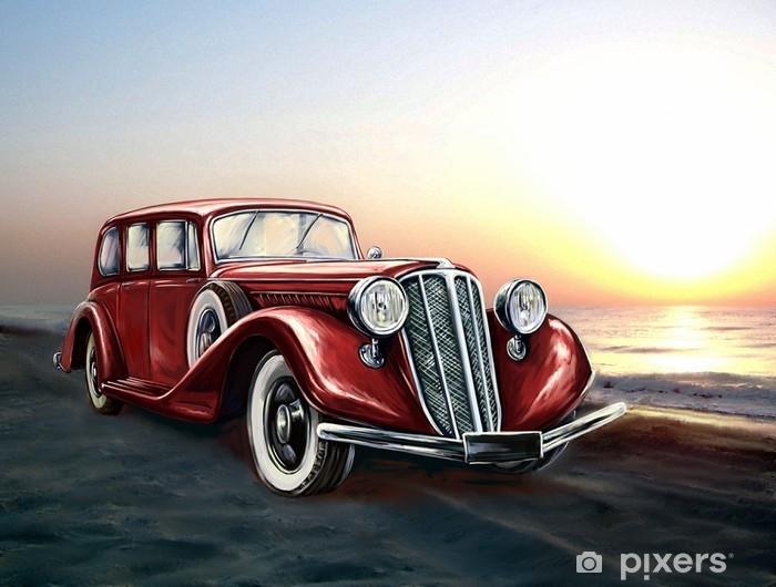 Naklejka Pixerstick Retro czerwony samochód i morze - Transport