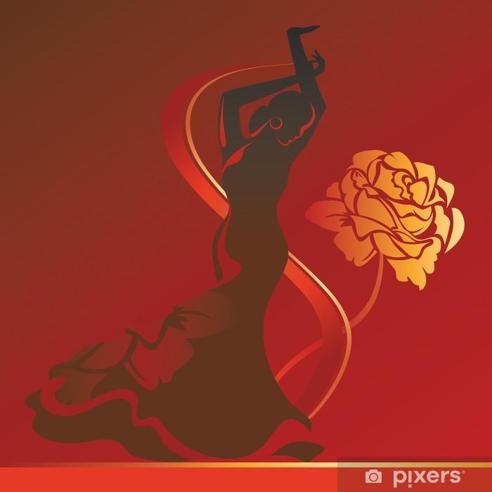 Vinilo Pixerstick Bailarina flamenko de rosa sobre fondo - Entretenimiento