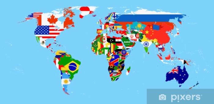 Cartina Mondo Con Bandiere.Carta Da Parati Mappa Del Mondo Con Bandiere Pixers Viviamo Per Il Cambiamento