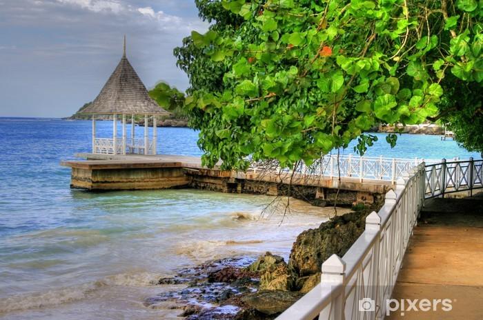 Vinyl-Fototapete Pier / Beach in Montego Bay, Jamaika, Karibik - Themen