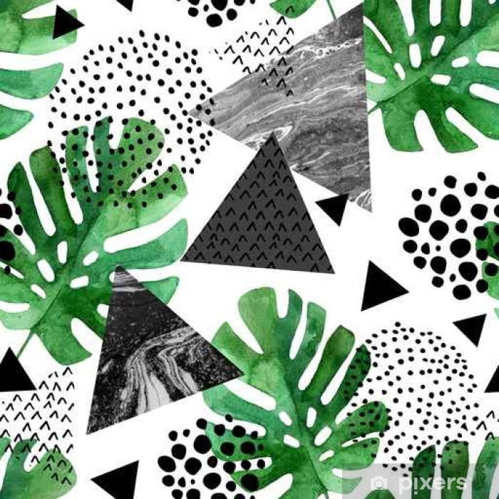 watercolor tropical leaves and textured triangles background Poster - Graphic Resources