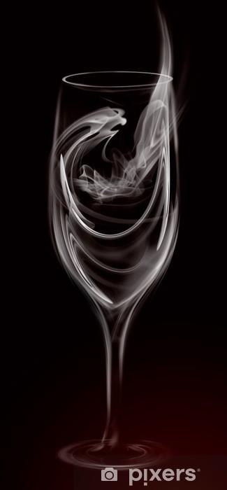 Vinyl Fotobehang Artistieke Illustratie Smoke Wijn cocktailglas op zwart -