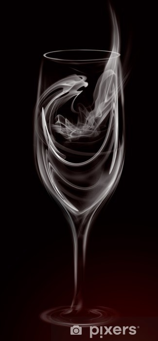 Artistic Illustration Smoke Wine Cocktail Glass on black Vinyl Wall Mural -