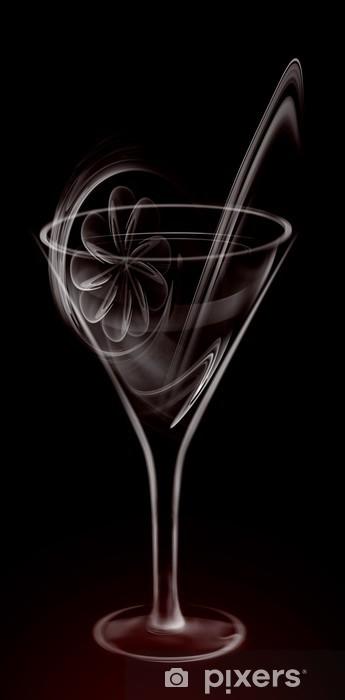 Sticker Pixerstick Artistique Verre Cocktail de fumée sur le noir - Thèmes
