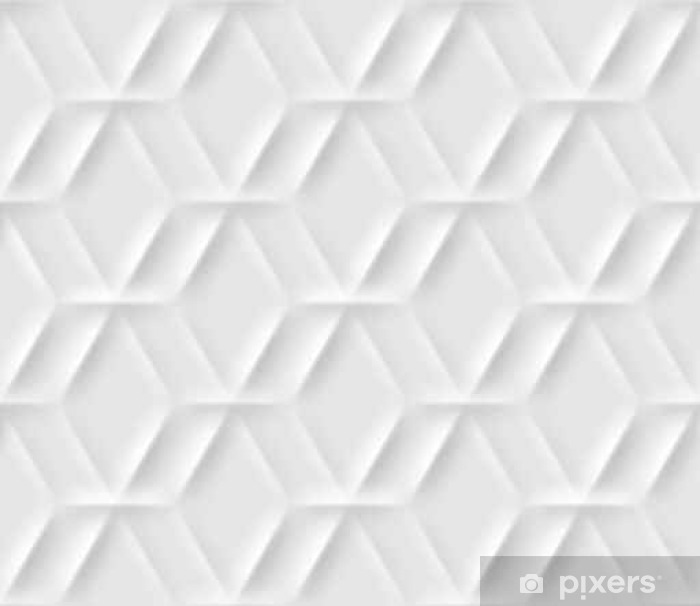 Vinyl Fotobehang Naadloos patroon met zeshoekige cellen gemaakt van schaduwen en lichten in origami-stijl. Wit herhalende achtergrond. - Grafische Bronnen