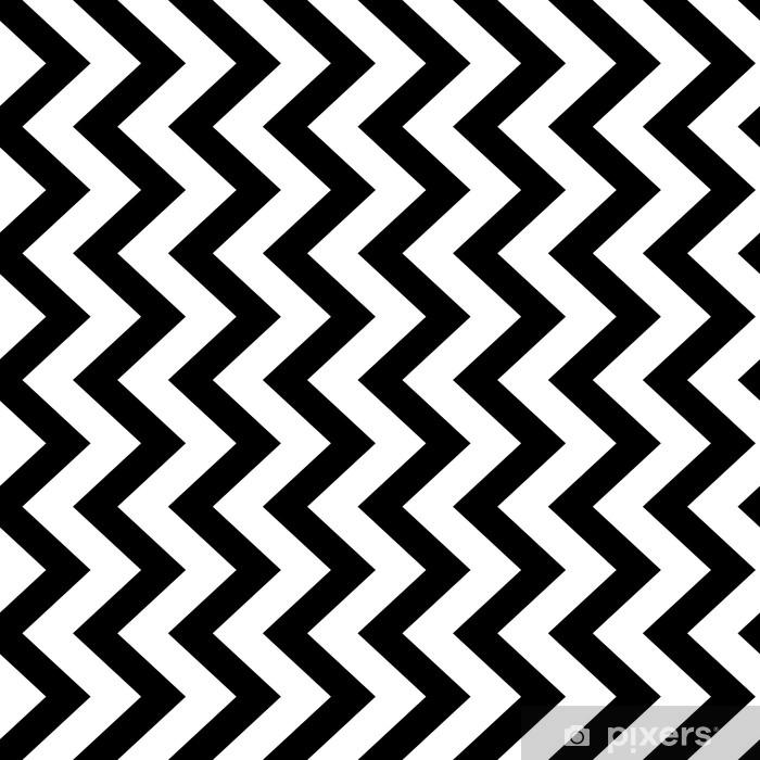 Mural de Parede em Vinil Fundo de padrão sem emenda de ziguezague vertical em preto e branco. design vintage retro vintage. - Recursos Gráficos