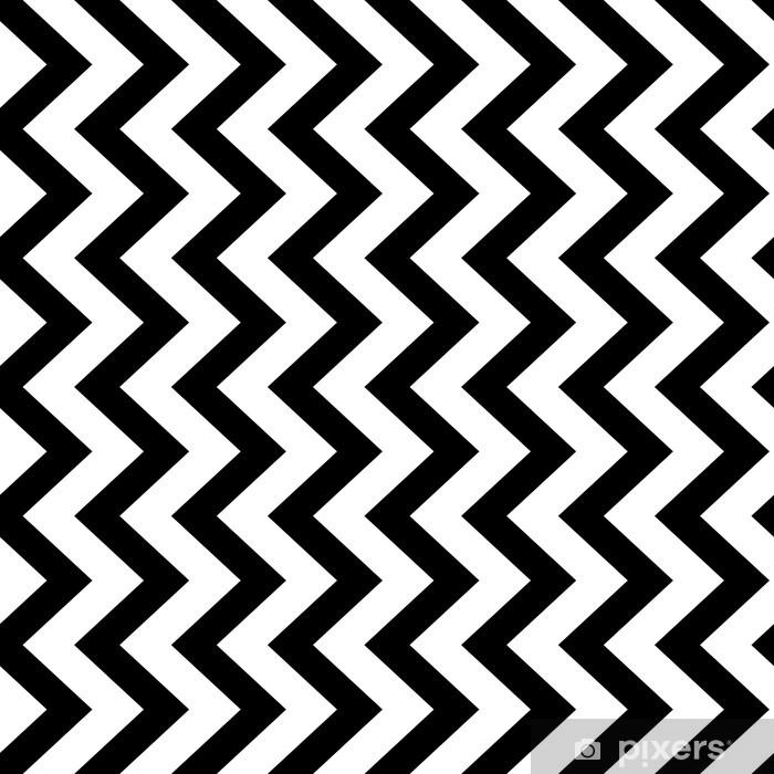 Vertical zigzag chevron seamless pattern background in black and white. Retro vintage vector design. Vinyl Wall Mural - Graphic Resources