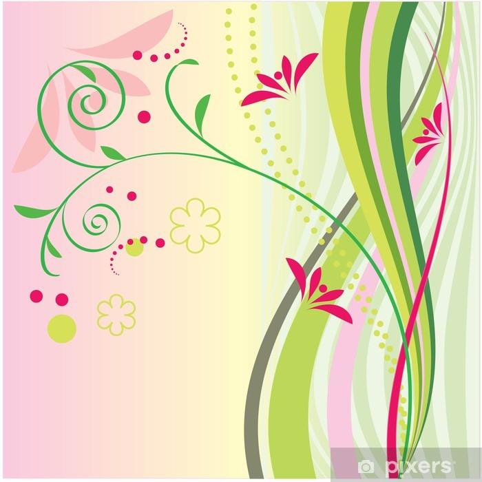 Poster Grüne Streifen und Blumen - Blumen