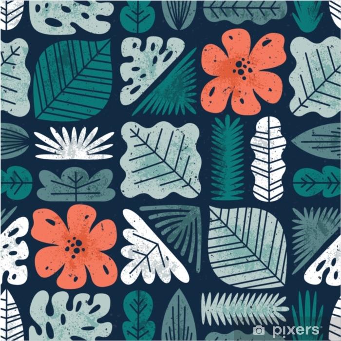 Mural de Parede em Vinil Folhas tropicais sem costura padrão. fundo texturizado da selva. - Plantas e Flores