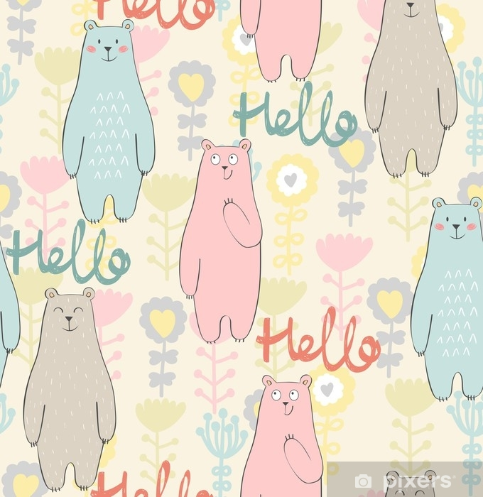 Vector seamless pattern with bear and flowers Self-Adhesive Wall Mural - Animals