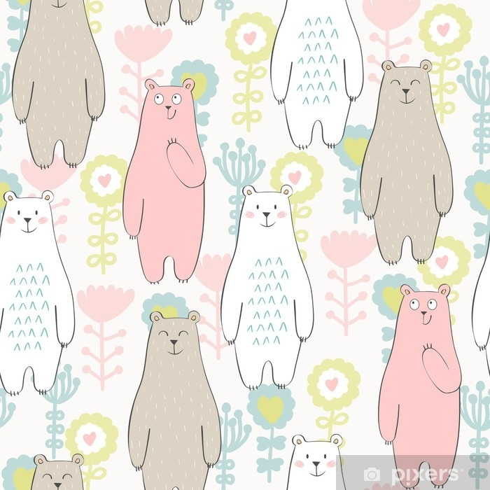 Vector seamless pattern with bear and flowers Washable Wall Mural - Animals
