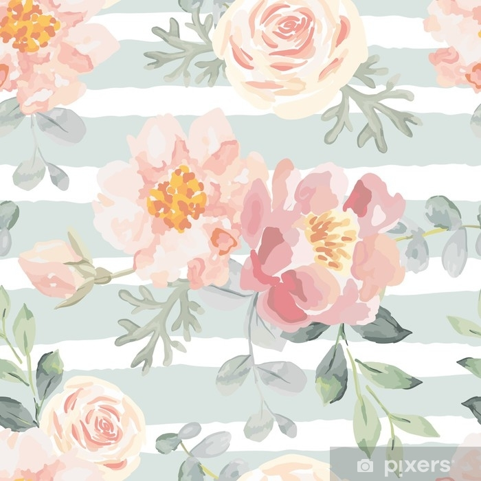 Pale Pink Roses And Peonies With Gray Leaves On The Striped Background.  Vector Seamless Pattern