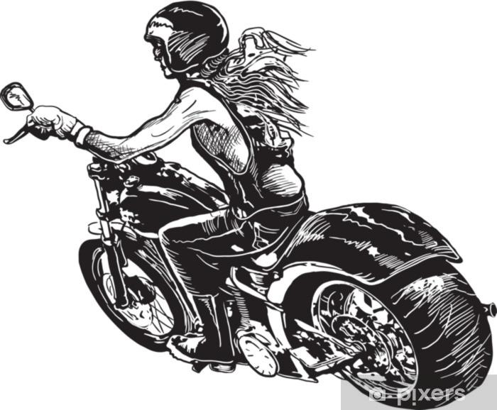 Pixerstick Sticker Een motorrijwiel voor dames. een hand getrokken vector. uit de vrije hand tekenen op wit, geïsoleerd. - Transport