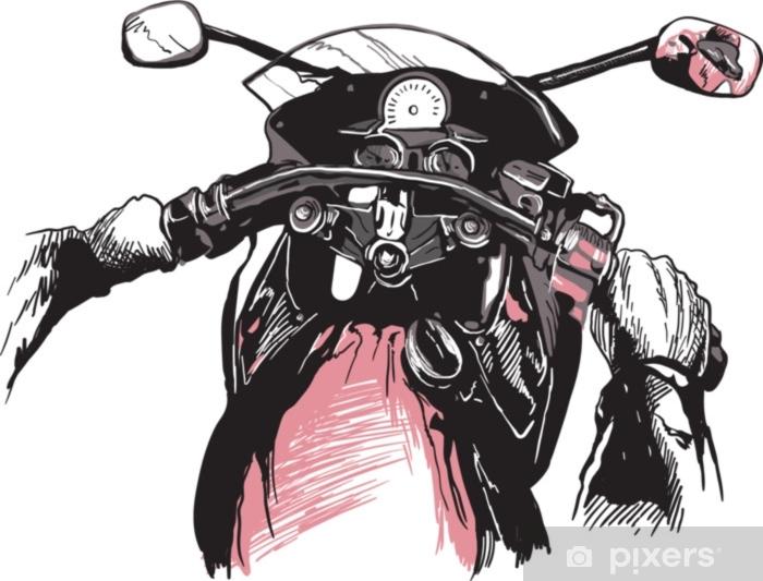 Naklejka Pixerstick Kierownice motocykli, za rowerem. jazda szybką maszyną. ręcznie rysowane ilustracji wektorowych - na białym tle. odręczne szkicowanie. - Transport
