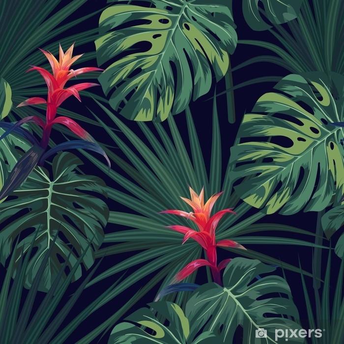 Papier Peint Fond Tropical Exotique Avec Des Plantes Et Des Fleurs