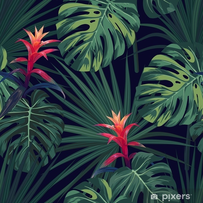 Sticker Pixerstick Fond tropical exotique avec des plantes et des fleurs hawaïennes. modèle vectorielle continue avec monstera vert et feuilles de palmier sabal, fleurs de guzmania. - Plantes et fleurs