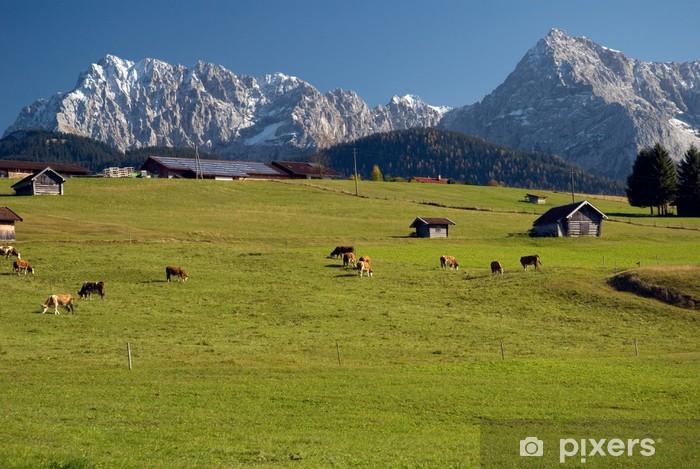 Pixerstick Aufkleber Karwendelberge vor Buckelwiesen - Natur und Wildnis