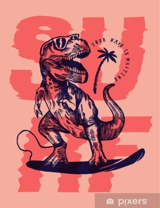 Sticker Pixerstick Impression rose surfer dinosaure - Sports