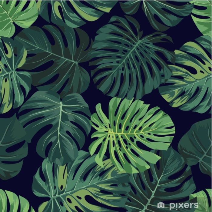 Vector Seamless Pattern With Green Monstera Palm Leaves On Dark Background Summer Tropical Fabric Design Wall Mural Pixers We Live To Change Free for commercial use no attribution required high quality images. wall mural vector seamless pattern with green monstera palm leaves on dark background summer tropical fabric design