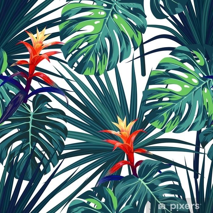 Raamsticker Exotische tropische achtergrond met Hawaiiaanse planten en bloemen. naadloze vector patroon met groene monstera en sabal palmbladeren, guzmania bloemen. - Bloemen en Planten