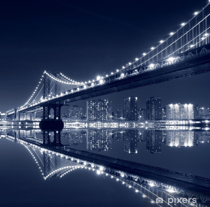 Manhattan Bridge and Manhattan skyline At Night Vinyl Wall Mural -