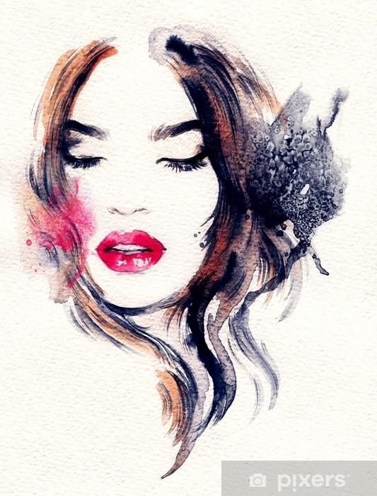 Papier Peint Visage De Femme Abstraite Illustration De Mode La Peinture à L Aquarelle Pixers Nous Vivons Pour Changer