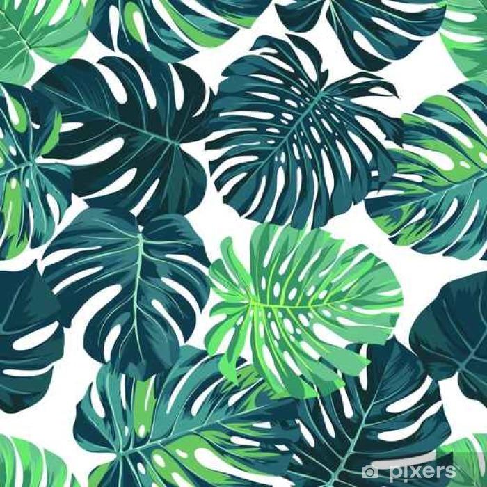 Fototapeta winylowa Wektor bez szwu deseń z palmy zielony monstera pozostawia na ciemnym tle. Tropikalna tkanina letnia. - Zasoby graficzne