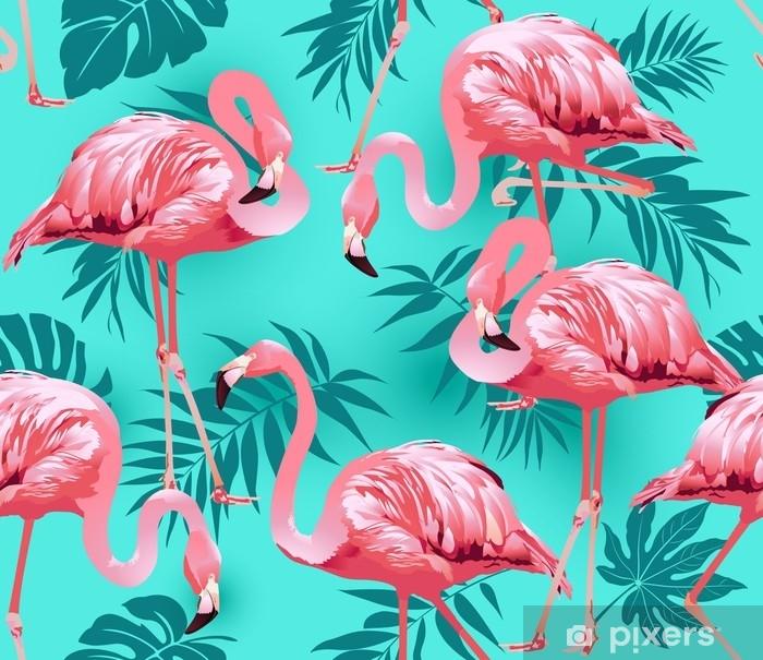 Poster Flamingovogel und tropischer Blumenhintergrund - nahtloser Mustervektor - Pflanzen und Blumen