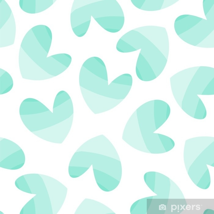 Seamless vector pattern with mint hearts. Self-Adhesive Wall Mural - Graphic Resources