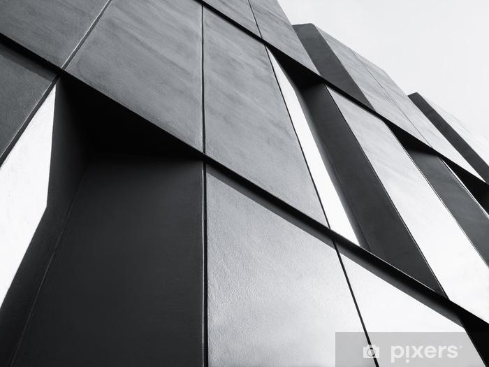 Papier peint lavable Architecture détail façade design bâtiment moderne noir et blanc - Bâtiments et architecture