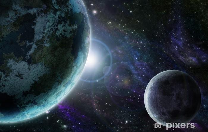 Naklejka Pixerstick Blue planet earth w przestrzeni kosmicznej - Wszechświat