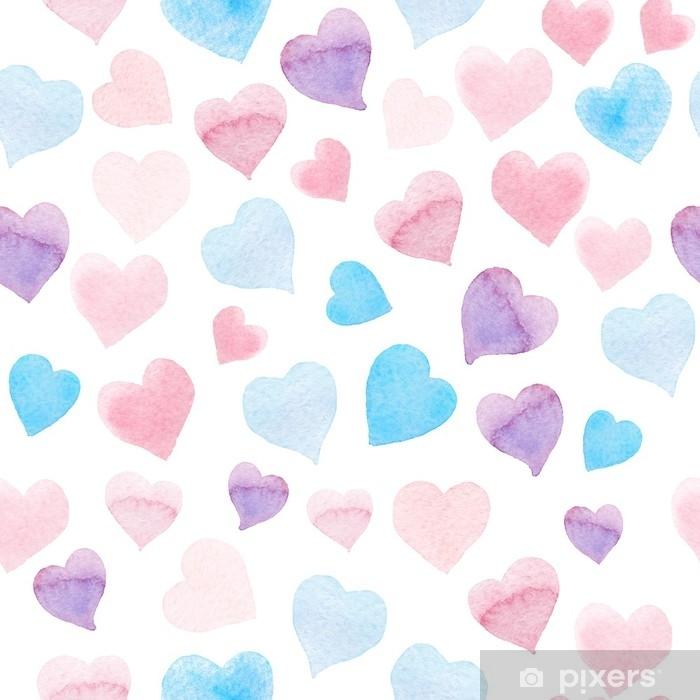 Fototapet av Vinyl Sömlösa vattenfärg mönster med färgglada hjärtan - rosa, lila, blå tints. - Grafiska resurser