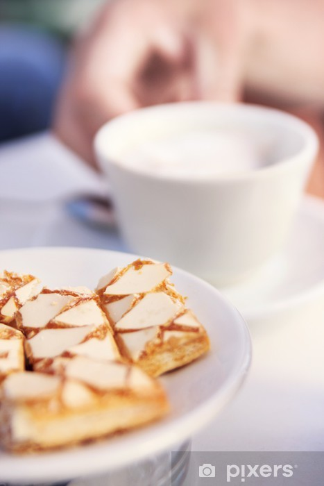 Vinyl Fotobehang Koffie en cake - Warme Dranken