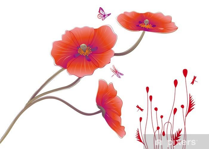 Sticker Pixerstick Fleurs de pavot avec des papillons, vecteur - Fleurs