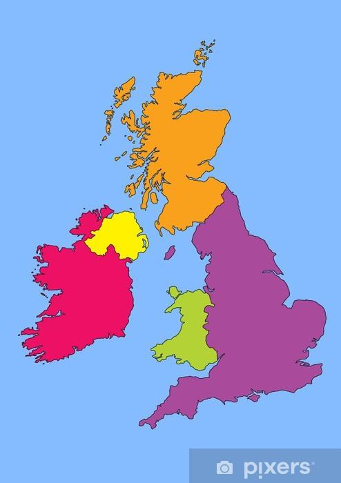 Kort Over Storbritannien Og Irland Fototapet Pixers Vi Lever
