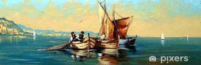 Fototapeta winylowa Rybak, statki, łódź, krajobraz morski, obrazy olejne - Transport