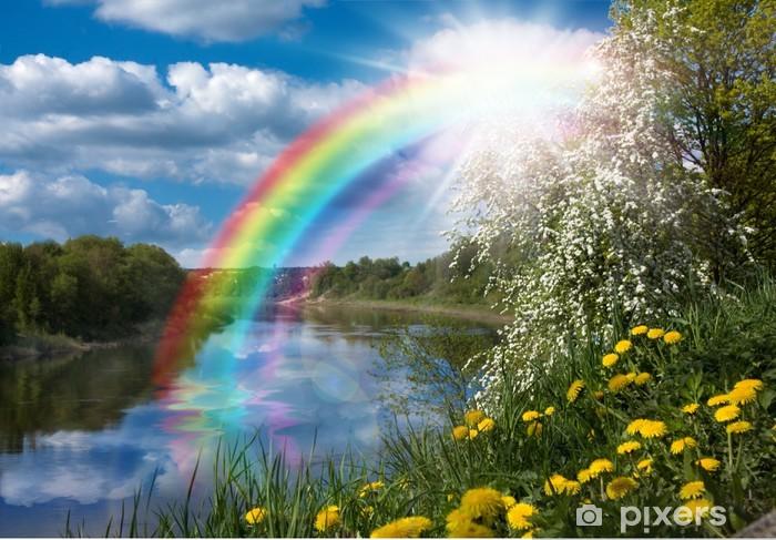 Papier peint vinyle Paysage avec un arc-en sur la rivière au printemps - Les arcs-en-ciel