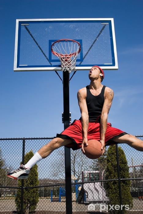 Sticker Pixerstick Man Dunking un ballon de basket - Hommes