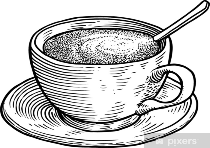 Autocolante Pixerstick Ilustração de xícara de café, desenho, gravura, tinta, arte de linha, vetor - Bebidas