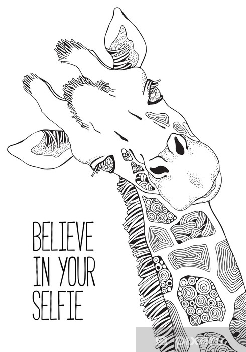 Adesivo Pagina Del Libro Da Colorare Per Adulti E Bambini Giraffa