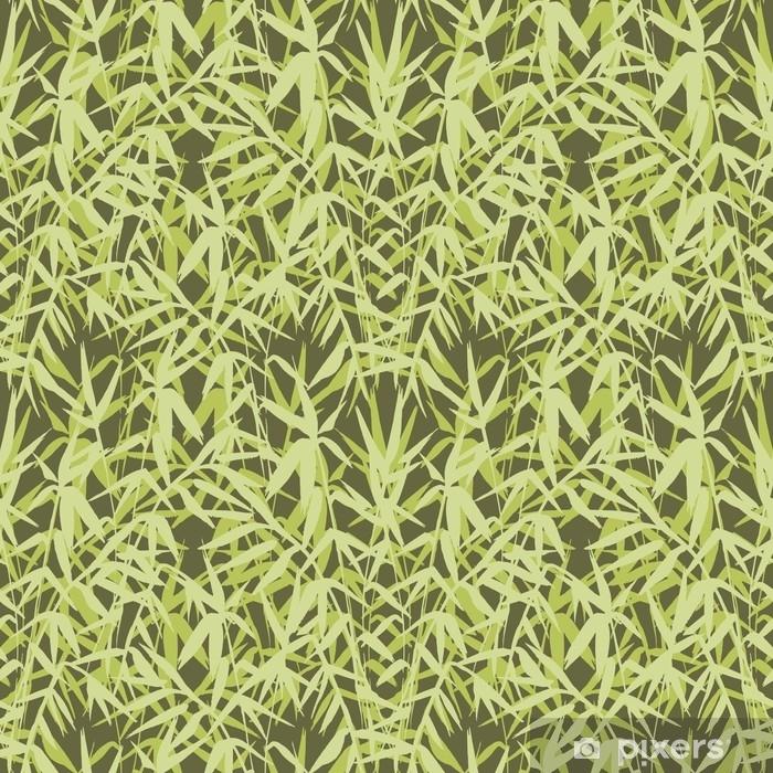 Plakat Bambusowy bezszwowy wzór na zielonym tle w japońskim stylu, lekcy świezi liście, zen jak realistyczny projekt, wektorowa ilustracja - Rośliny i kwiaty