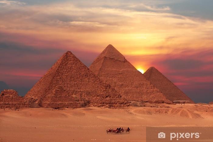 Papier peint vinyle Pyramide coucher du soleil - Destin