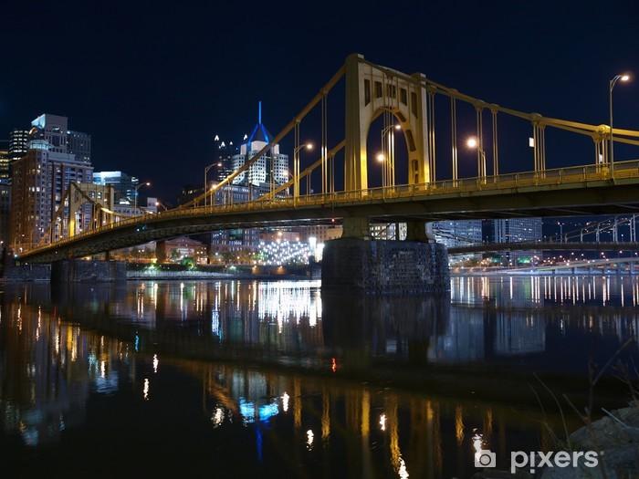 Papier peint vinyle Pittsburgh Ponts de Nuit - Amérique