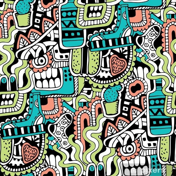 Sticker Pixerstick Graffiti texture transparente avec des signes de médias sociaux et d'autres icônes brillants. illustration vectorielle avec chaussure, tv, bouteille, nourriture, tête de monstres, feuilles - Ressources graphiques