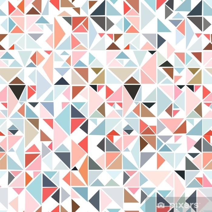 cea16e9d Pixerstick-klistremerke Sømløs geometrisk mønster fra trekanter av forskjellige  farger på en hvit bakgrunn.