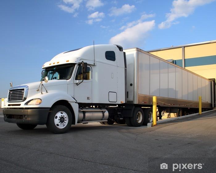 Semi Truck Tractor Trailer At Loading Dock Vinyl Wall Mural Heavy Industry