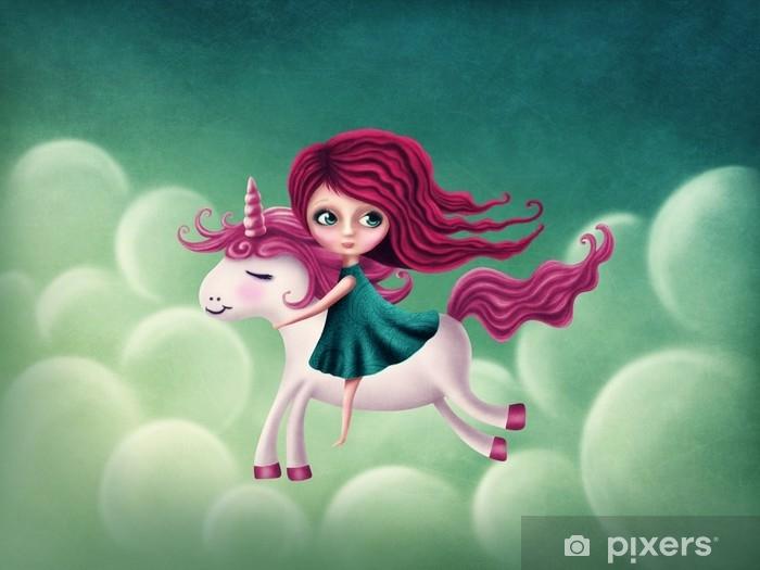 Naklejka Pixerstick Ilustracja dziewczyny z jednorożcem - Ludzie