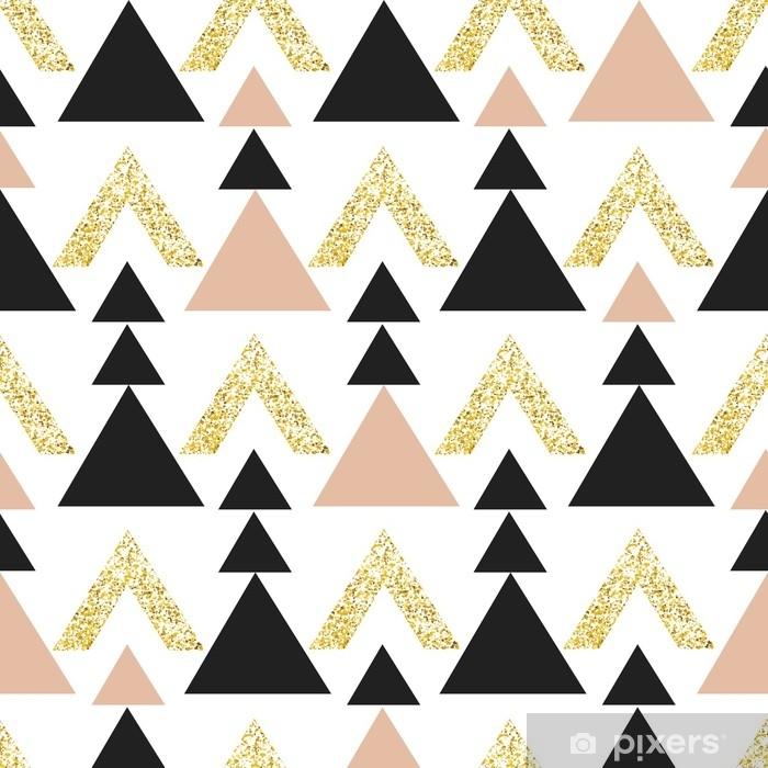 Vinyl Fotobehang Gouden geometrische driehoek achtergrond. abstract naadloos patroon met driehoeken in goud en donkergrijs. - Grafische Bronnen