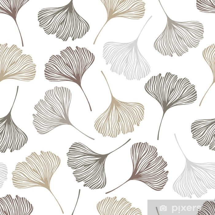 Vinyl-Fototapete Nahtloses mit Blumenmuster mit Ginkgoblättern. Vektor-Illustration. - Pflanzen und Blumen